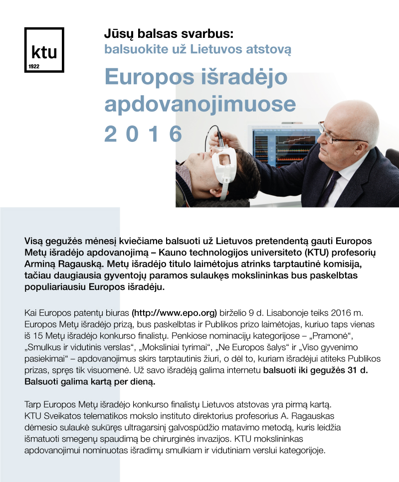 Balsuokime už Lietuvos mokslininką Europos išradėjo apdovanojimuose 2016
